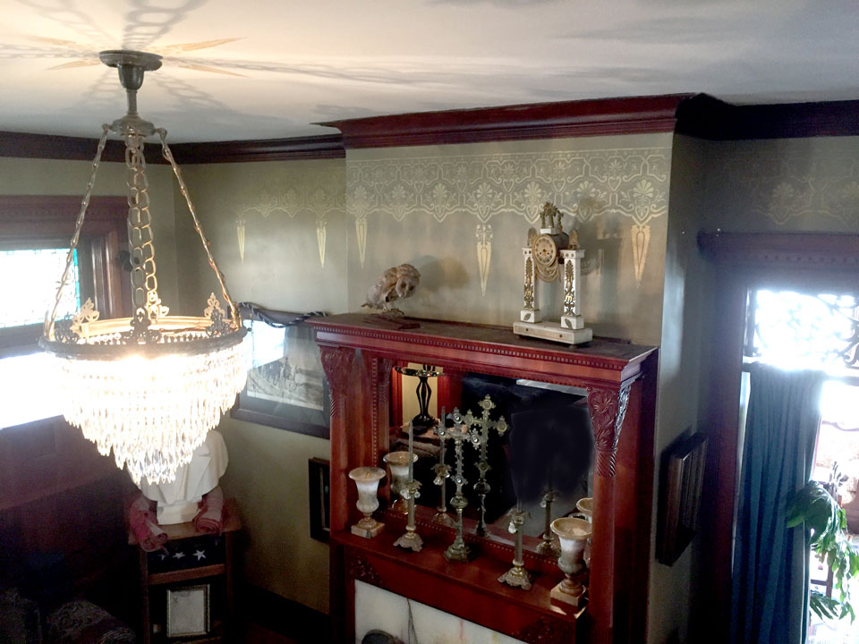 Stenciling in East Parlor